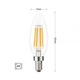 LAMPADINA LED LUCE CALDA 4W OLIVA FILAMENTO CANDELA TRASPARENTE E14 C35