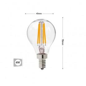 LAMPADINA LED 4W LUCE CALDA FILAMENTO IN VETRO TRASPARENTE E14 4 W G45A-TC