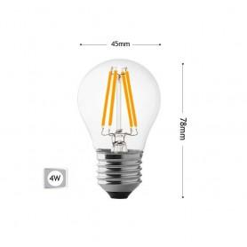 LAMPADINA LED 4W LUCE CALDA FILAMENTO IN VETRO TRASPARENTE E27 4 W G45A-TC