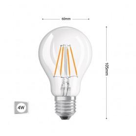 LAMPADINA LED LUCE CALDA 4W FILAMENTO IN VETRO TRASPARENTE E27 4 W E 27 A60-T4C