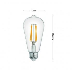 LAMPADINA LED LUCE CALDA 8W FILAMENTO IN VETRO TRASPARENTE E27 8 W E 27 T64-TC