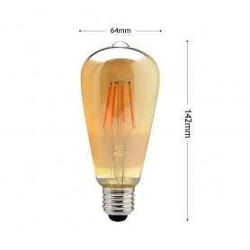 LAMPADINA LED LUCE CALDA 8W FILAMENTO IN VETRO AMBRATO VINTAGE E27 8 W T64-OC