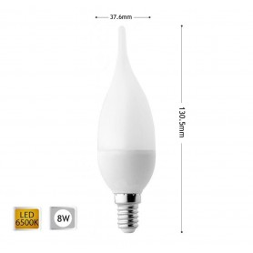LAMPADINA LED 8 W SOFFIO COLPO DI VENTO LUCE BIANCA E14 8W C37
