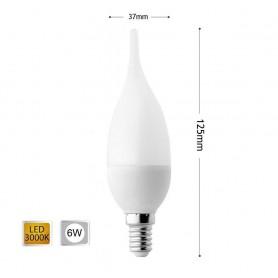 LAMPADINA LED 6 W SOFFIO COLPO DI VENTO LUCE CALDA E14 6W C37