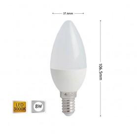 LAMPADINA LED 8 W OLIVA LUCE CALDA E14 CANDELA 8W E 14 C36