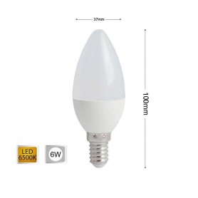 LAMPADINA LED 6 W OLIVA LUCE BIANCA E14 E CANDELA 6W 14 C36