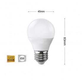 LAMPADINA LED 6 W LAMPADINE A SFERA LUCE NATURALE E27 6W G45