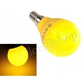 LAMPADINA LED LUCE GIALLA 4W E14 . LAMPADA SFERA COLOR GIALLO LAMPADINE X DECORARE