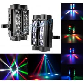 FARO 8 LED RGB DA DISCOTECA LUCE . ROTANTE EFFETTI STROBO RITMO DI MUSICA CREE DMX