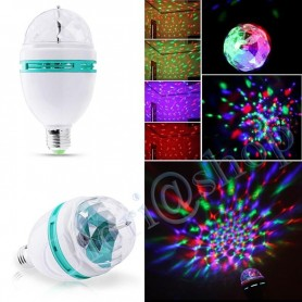 LAMPADINA 3 LED SFERA RGB MULTICOLORE . FARO LAMPADA ROTANTE AUTOMATICA 3W E27