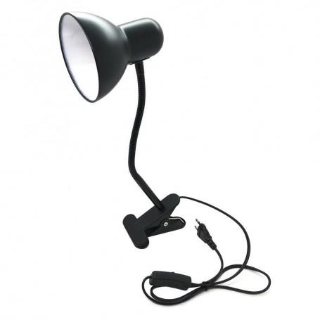 LAMPADA DA SCRIVANIA BRACCIO FLESSIBILE LUMETTO CON PINZA E27 LUME NERO