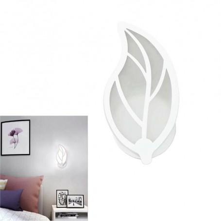 APPLIQUE FOGLIA IN VETRO A PARETE LUCE BIANCA LAMPADA LED INTERNO 7 W E32F
