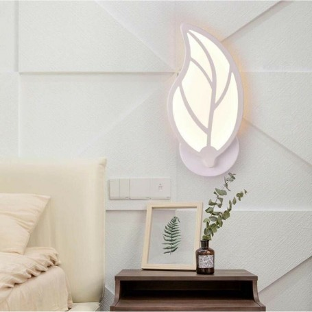 APPLIQUE LED 7 W LUCE NATURALE LAMPADA A PARETE FORMA DI FOGLIA IN VETRO E32N