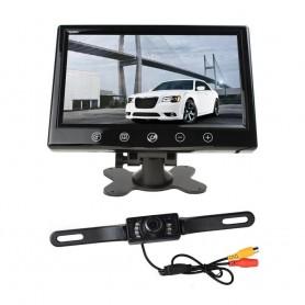 AUTO KIT RETROMARCIA MONITOR LCD 9 VIDEO AV1 AV2 TELECAMERA 7 LED INFRAROSSI