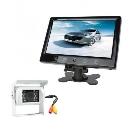 "AUTO KIT MONITOR LCD 9"" VIDEO AV1 AV2 TELECAMERA 18 LED PER RETROMARCIA AUTO"