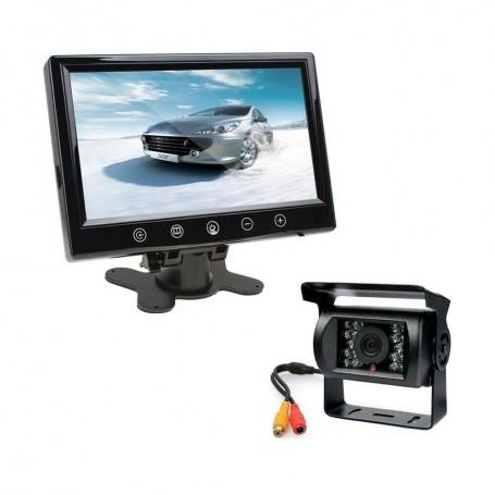 """AUTO KIT MONITOR LCD 9"""" POLLICI TELECAMERA 18 LED INFRAROSSI PER RETROMARCIA"""